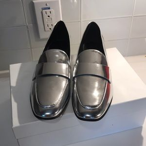 NEW! DVF Lafayette Silver Loafers